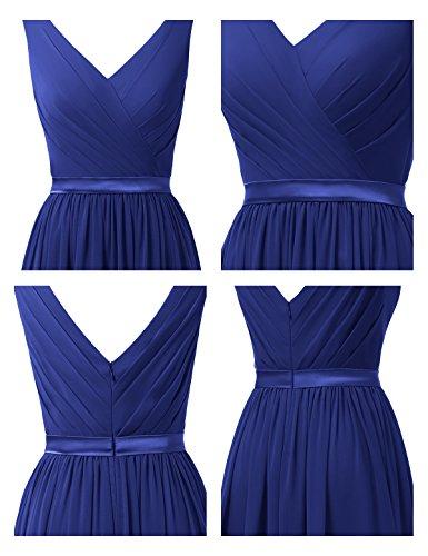 Dress Dress Party V Evening Royal Neck Prom Bridesmaid Alicepub Long Chiffon Blue Sleeveless 6nzgW61Y