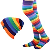 Women Rainbow Hat & Over Knee Sock Set Stripe Cap Thigh High Sock Boot Stocking