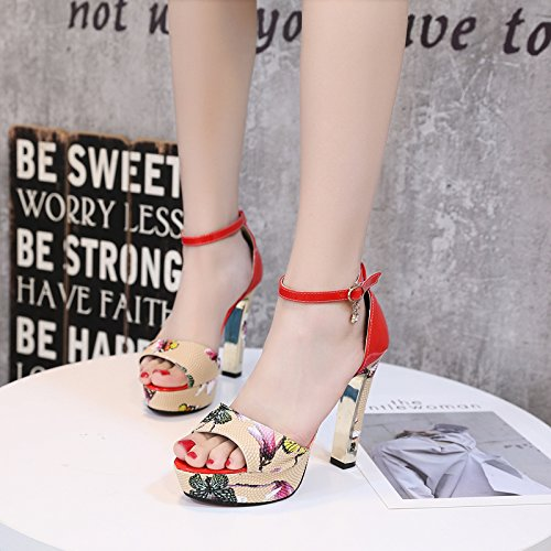 Gules Thirty-nine AGECC High Heel And Fish Mouth One Word Buckle With Sandals
