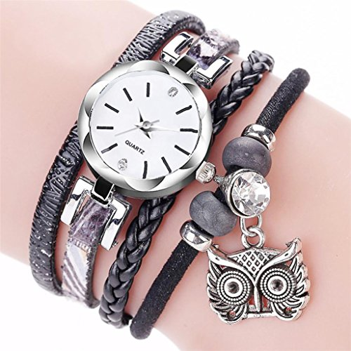 Watch,BCDshop New CCQ Fashion Women Analog Quartz Wristwatch Owl Pendant Ladies Dress Bracelet Watch (Black, Stainless - Round Female Suit Shape Glasses To Face