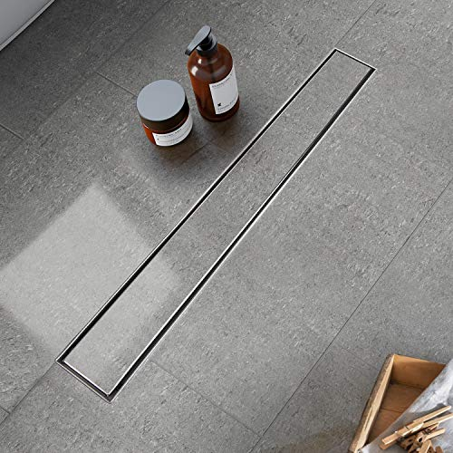 Modbath 24 Inch Linear Shower Drain with 2-In-1Flat Cover and Tile Insert Grate, Floor Drain Brushed 304 Stainless Steel with Hair Strainer, Adjustable Leveling Feet