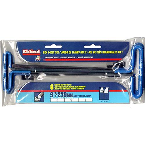 EKLIND 55196 Cushion Grip Hex T-Key allen wrench - 6pc set Metric MM sizes 2-6 (9In - Cushion Grip Hex Key