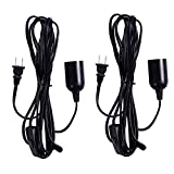 HDE 2 Pack 3.6 m Hanging Pendant Light Bulb Socket Plug-In Extension Cord with On/Off Switch (E26 E27 Base, Black)