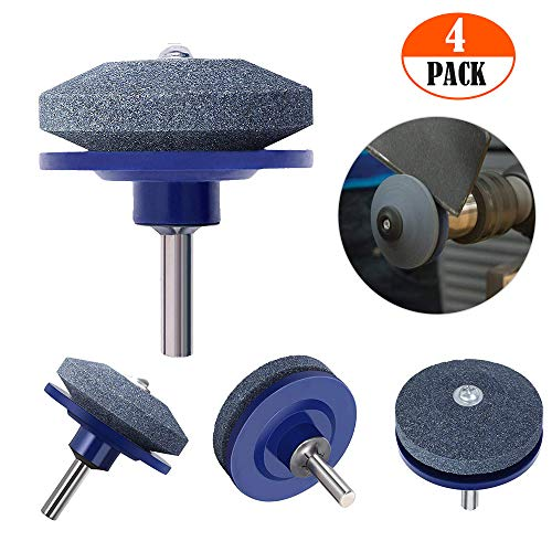 【New Upgrade】 Wear Resistant Lawn Mower Blade Sharpener, Universal Lawn Mower Sharpener for Any Power Drill Hand Drill-Blue(4Pack) ()