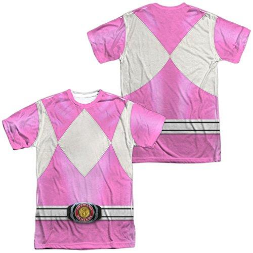 White Ranger Costume T-shirt (Trevco Unisex-Adults Power Pink Ranger Double Sided T-Shirt, White, Medium)