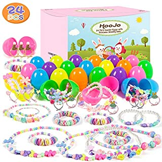 HOOJO 36 Pcs Prefilled Easter Eggs with Necklace & Bracelet Jewelry Sets for Girls, Surprise Eggs for Easter Hunts, Basket Stuffers, Party Favor