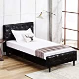 Mecor Upholstered PU Faux Leather Platform Bed Frame with Solid Wooden Slats Support,Home Dorm Apartment,Black/Twin Size