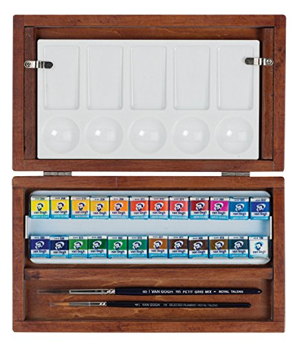 Royal Talens Van Gogh Artists' Watercolor Lux Wood Box Set: 24 Pans of Colors, 2 Brushes and Palette (400022572)