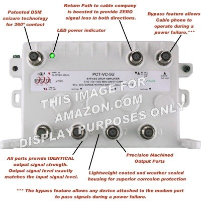 4-Port Bi-Directional Cable TV Splitter Signal Booster/Amplifier with Active Return Zero Signal Loss and VoIP Telephone Bypass Feature by PCT