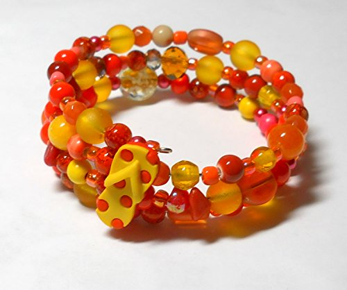 Orange and yellow beaded bracelet, orange flip flop arm candy, wrap around jewels, orange jewelry, Florida souvenir Sanibel (Around Jewel)