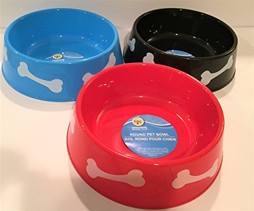 TBC HOME DECOR Round Plastic Pet Bowls - 9 3/4 inch - 3 color set -