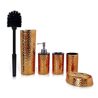 5 Piece Bathroom & Sink Accessory Set - Bronze Finish Modern Vanity Accessories Kit Include Tumbler, Toothbrush Holder, Lotion Pump Dispenser, Soap Dish & Toilet Brush Holder - SereneLife SLBATAC03 - 5-PIECE SET: The 5 piece Bathroom Accessory Kit by SereneLife features contemporary & modern style bronze finished bath set perfect for family use. Kit includes Tumbler Cup, Toothbrush Holder, Lotion Dispenser, Soap Dish & Toilet Bowl Brush Holder ESSENTIAL BATH ORGANIZER: Fill dispenser with your favorite liquid soap or body & hand lotion, organize your toilet brush, toothbrush & toothpaste in their holders, use the tumbler for rinsing or additional storage & set your bar soap in the dish NON-SLIP TEXTURED DESIGN: These bath accessories are made of quality & durable resin material ideal for everyday use. It has a unique textured surface design which acts as anti-slip material so it wouldn't easily fall off from your wet & soapy hands - bathroom-accessory-sets, bathroom-accessories, bathroom - 51LdC3E%2BlJL. SS400  -