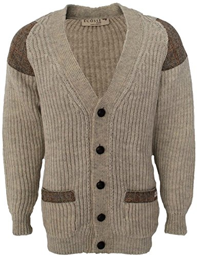 Chunky knit cardigan | Harris Tweed patch | Leather buttons | British Wool | # 41119 (3XL, Light Grey Welsh) by Niffy Ecosse