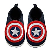 Marvel Baby Boys Avengers Captain America Character Low Top Denim Sneakers, Navy Blue, 3-6M