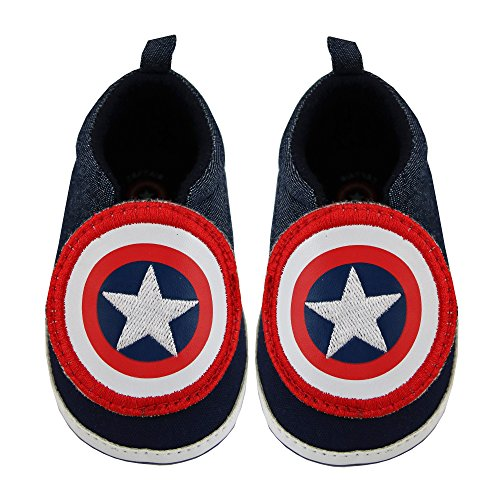 Captain Sneaker (Marvel Baby Boy's Avengers Captain America Character Low Top Denim Sneakers Accessory, navy blue, 9-12M)