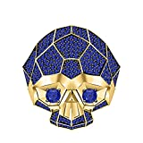 RUDRAFASHION Men's & Women's 14K Two-Tone Yellow Gold Plated 3.80 ctw Blue Sapphire Half Jaw Skull Ring