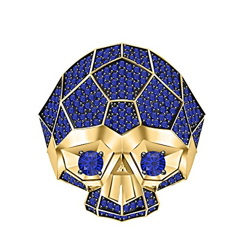 RUDRAFASHION Men's & Women's 14K Two-Tone Yellow Gold Plated 3.80 ctw Blue Sapphire Half Jaw Skull Ring by RUDRAFASHION