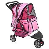 GHP Pink Zephyr 3-Wheel Dog Carrier Jogger Pet Stroller Pet Dog Cat Supplies