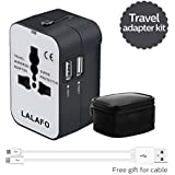 All in One International Universal Travel Adapter,Dual USB Charging ports converter for USA EU UK AUS European Compatible with Mobile Phone,Power Bank,Tablet,Laptop and Earphone. (Black&White)