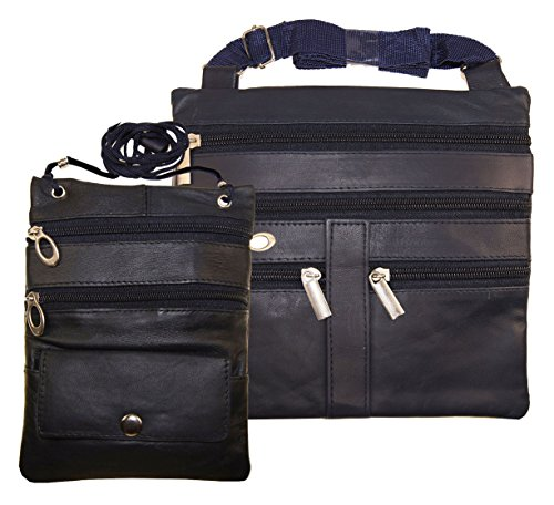 Leather Travel 2 Neck Pouch Holders Passport Id Wallet Security Bag Navy Blue ()