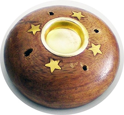 Madina Charcoal Cone & Stick Small Mouth Round Copper Star Ash Catcher Incense Holder [2.5