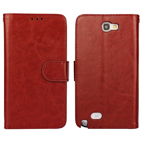 Note 2 Case, iCoverCase Crazy Horse Pattern PU Leather Wallet Case Flip Kickstand TPU Silicone Soft Cover for Samsung Galaxy Note 2 N7100 (Brown) (Galaxy Note 2 Case Leather)