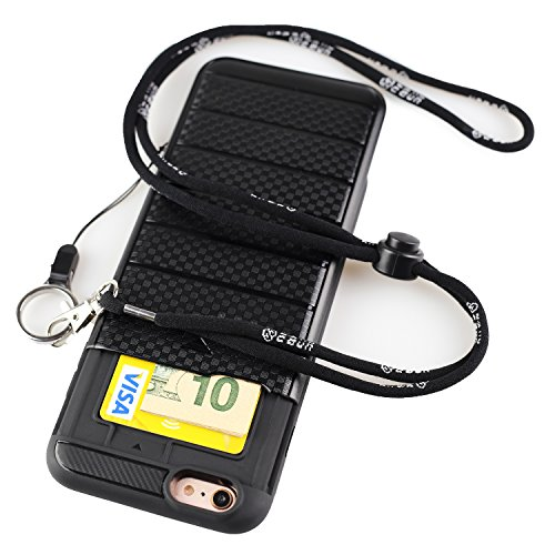 iPhone 6s Case with Long Lanyard - Neck Strap Case with Lanyard Hole - Hidden Back ID Card Slot Slider - Protective Credit Card Holder (iPhone 6 4.7 Inch (Lanyard Hole)