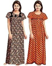 Women's Cotton maxi nighty for women sleepwear Indian (Combo Pack of 2 Pcs)