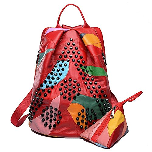 Aoligei Frau Ledertasche Mode koreanische Version Schaffell doppelt Umhängetasche Persönlichkeit niet Reisetasche Rucksack College Wind B