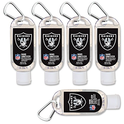 $2.00 OFF Oakland Raiders Hand Sanitizer with Clip, 5-Pack. Moisturizers Aloe Vera and Vitamin E. (1.5 oz Containers) NFL Football Gear for Men and Women, Stocking Stuffers - Oakland Raiders Oak Helmet