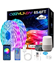 Cozylady Alexa LED Strip Lights 65.6FT, WiFi LED Light Strips Compatible with Alexa,Google Home Controlled by Smart APP, Music Sync LED Lights Strip for Bedroom Decor, Room Decor, Children's Room