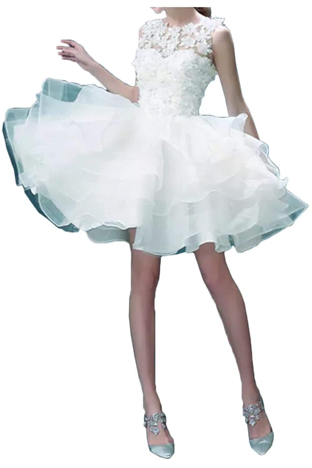 Gorgeous Bride Ruffle Organza Ball Gown Flower Appliques Formal Dresses Prom Gown