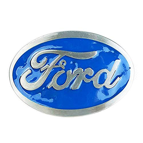 - Ford Belt Buckle, Blue Enamel Fill Pewter Finish
