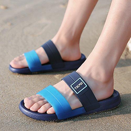 Tide Slippers Beach The Personality fankou of Soft 43 Summer Seaside Summer a Cool The Non Male Shoes Wear Slip Blue Men's n88BaUx