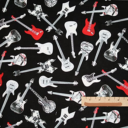 패브릭-면-아름다운 인쇄-기타 음악 록 클래식