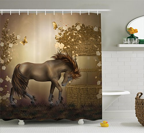 Ambesonne Mystic House Decor Collection, Horse in Roses Garden Butterflies Fantasy Moonlight Romantic Artistic illustration, Polyester Fabric Bathroom Shower Curtain Set with Hooks, Beige Brown
