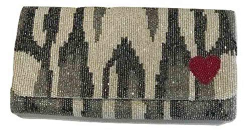 Tiana Heart Gusset Beaded Handbag Clutch with Design over Fold rrBaCwq