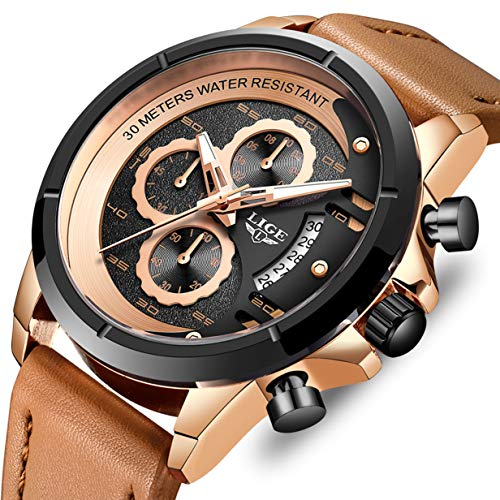 (LIGE Men Watches Military Waterproof Sports Analog Quartz Watch with Chronograph Large Dial Brown Leather Strap Wrist Watch)