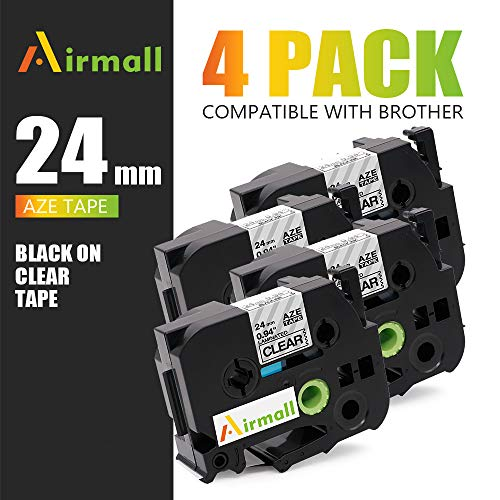 Airmall 4 Pack 24mm Black on White Label Tape Compatible P-Touch TZe-251 TZe 251 0.94 Inch Laminated White Tape for Label Maker PTD600 PTD600VP PTE500 PTE550W PTP750W PTD800W PTP700