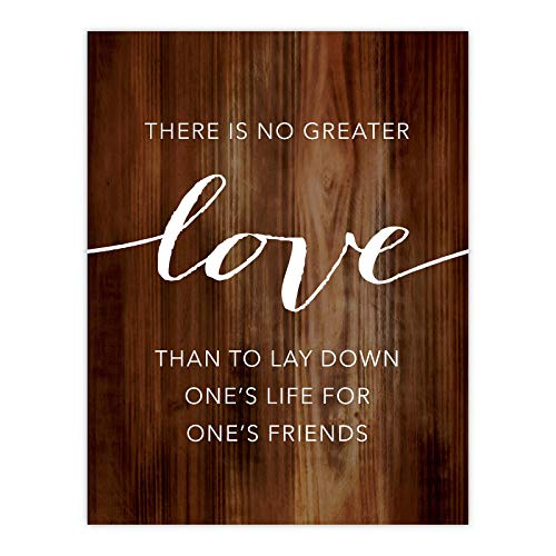 Andaz Press Christian Bible Verses 8.5x11-inch Wood Poster, Greater Love has no one Than This: to Lay Down one's Life for one's Friends. John 15:12-13, 1-Pack, Christmas Gift for Him Her (No Greater Love Than This Bible Verse)