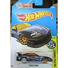Black Toyota Supra Hot Wheels 2016 HW Speed Graphics Series #2/10 1:64 Scale Collectible Die Cast Metal Toy Car Model #177/250 on International Card