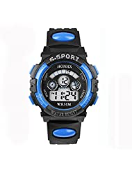 TOOPOOT? Waterproof Children Boy Digital LED Quartz Alarm Date Sports Wrist Watch (Blue)