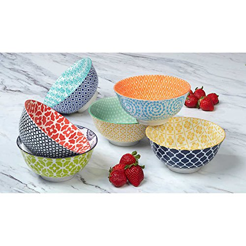 Large Floral Pattern (Certified International Large Cereal, Soup, or Pasta Bowls, Chelsea Collection, 6.1 Inch, Set of 6 Assorted Designs)