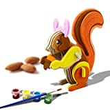 Bfun Wood 3D Animal Puzzles Squirrel 3D Woodcraft Kit Assemble Paint DIY 3D Puzzle Toys for Kids Adults the Best Birthday Gift