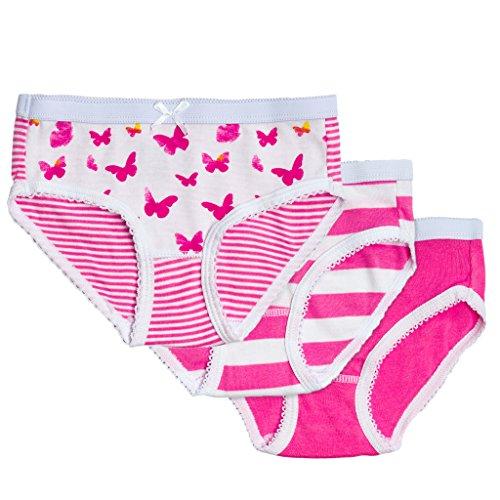 Feathers Girls Butterfly Print Snug Fit Tagless Briefs Underwear - 100% Cotton Super Soft ()