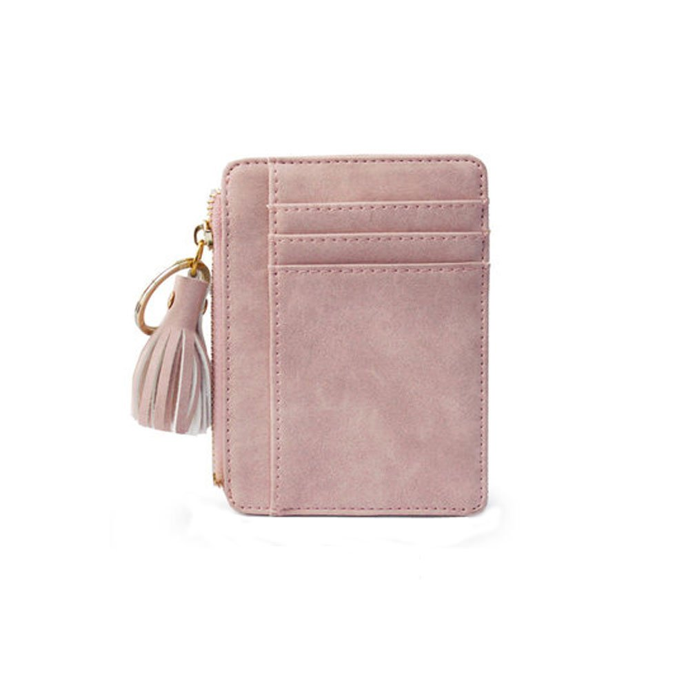Cute Tassel Purse Fashion Card Wallet Mini Slim Credit Card Case with Key Ring and Zipper (Gray)