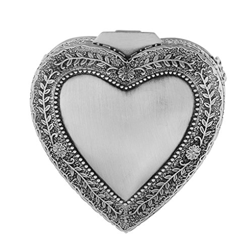Vintage Antique Silver Chest Box Heart Shape Tin Engraved Jewelry Box Classic Retro Storage Organizer (Heart Silver)