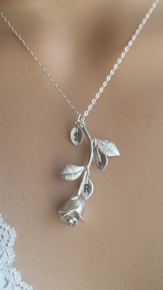 Amazon Com Beauty And The Beast Rhodium Plated Rose Flower Necklace Hand Stamped Leaves Handmade