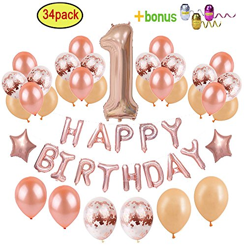 1st Birthday Decorations for Girl | Rose Gold Baby's First Birthday Party Supplies - Giant Number One Foil Balloon + 12