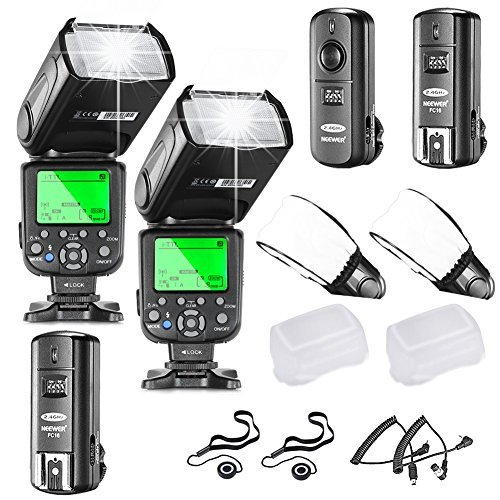 Neewer NW660III i-TTL HSS Flash Speedlite Kit for Nikon DSLR Cameras includes:(2)NW660III Flash+(1)2 4GHz Wireless Trigger(1 Transmitter 2 Receiver)+(2)Hard&Soft Flash Diffuser+(2)Lens Cap Holder